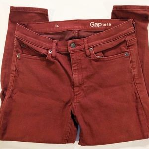 Gap 1969 Mid-Rise True Skinny Jeans Red